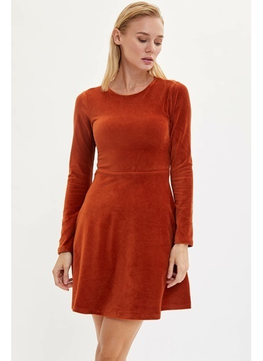 DeFacto Slim Fit Uzun Kollu Elbise Oranj